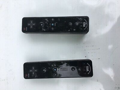 LOT OF 2 OFFICIAL Nintendo Wii Remote Motion Plus Controllers Black RVL-036