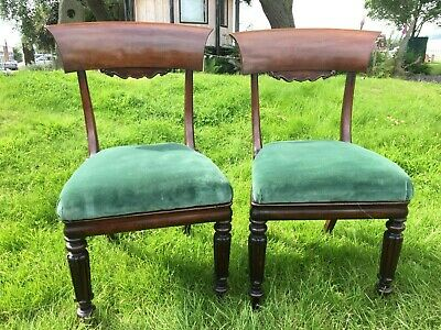 Pair of Antique Upholstered Dining Chairs