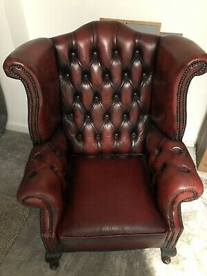 Queen Anne Wing Back Chesterfield Leather Oxblood Chair
