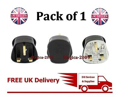 NEW UK 3PIN 13 AMP PLUG FUSED Fitted BLACK MAINS 240V 13A plug BS1363 Household