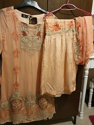 Needlez concept Peach Suit with Gharara size M Khaadi Agha noor