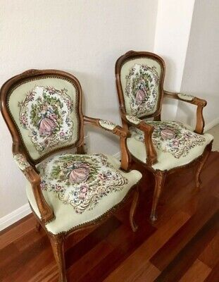 French Provincial Louis XV Bergere Armchair Chair