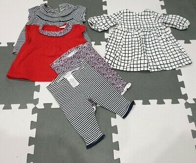 All NEXT Baby Girl Bundle 0-3 Flowers Red Stripes Nautical Dress Leggins