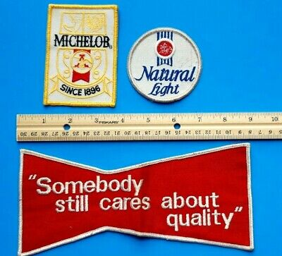 Lot of 3 Vintage Beer Patches Anheuser Busch, Budweiser, Natural Light, Michelob