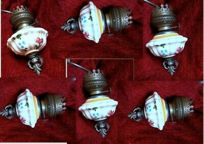 Vintage French Handmade Wooden Iron Chandelier/Lamp Ceiling 6 Lights Porcelain