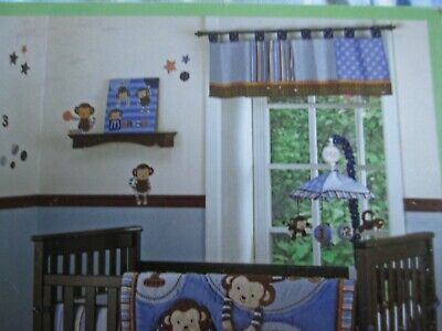 "CoCaLo--Monkey Mania Window Valance--14"" x 52"" -Blue-Brown-- New w/tags"