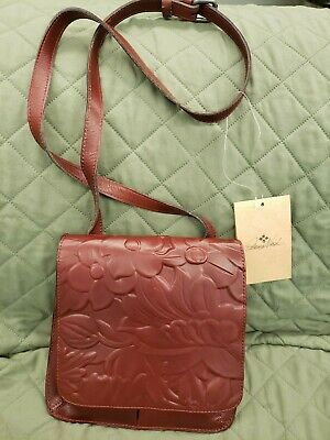 Patricia Nash Granada Crossbody Iron Red Tooled Leather Bag  retail $149.00