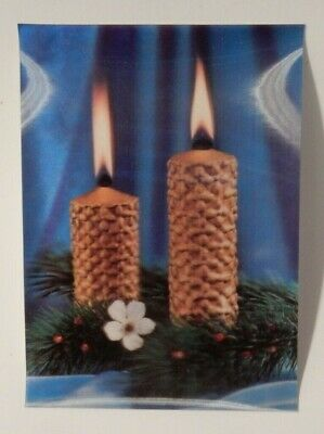3D Lenticular Three Dimensional TOPPAN Postcard: Two Christmas Candles