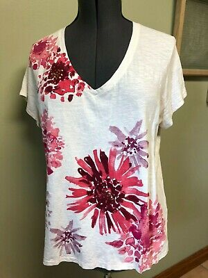 Tommy Hilfiger Women's White/Red/Pink V-Neck Cotton SS Embelllished Tee Size XL