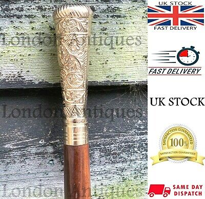 Classic Style Wooden Walking Stick Cane Brass Handle Shiny Finish Fordable Cane