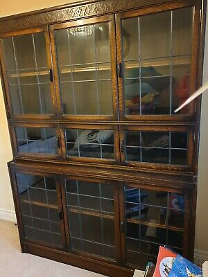 1930s Gunn Leaded Oak Stacking Sectional Bookcase Cabinet