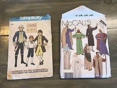Lot  Of 2 Vintage Centinnel Child Size 7 Costume, Adult Med Costume Patterns GUC