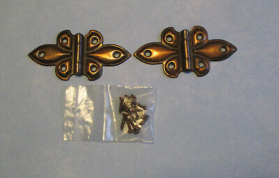 "Vintage butterfly flush hinges copper flash 3 ¾"" – 1 pair cabinet door cupboard"