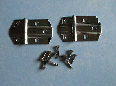 Vintage flush hinges bright chrome step edge Deco cupboard Hoosier cabinet box