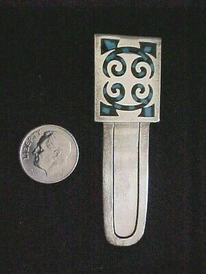 Vintage Sterling Silver 925 TAXCO Mexico TA-65 Aztec Turquoise Inlay Bookmark