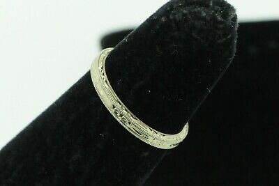 Art Deco Belais (ca. 1920) 18K White Gold Hand Chased Band (New Old Stock; Sz 4)