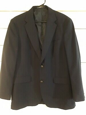 Dockers Dress Jacket Coat Wool Poly Blazer Lined 2 Button Navy Mens 42 Long