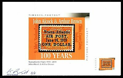 Alcock & Brown Transatlantic 1919 Fligh Anniv - Set of 2 CDN Picture Postage