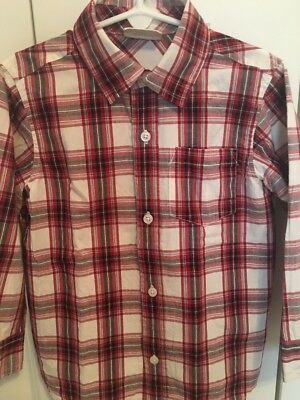 Boys 4t Crazy 8 Red Black Plaid Dress Shirt Button Front