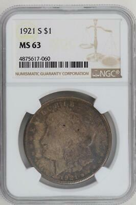 1921 S Morgan Silver Dollar-NGC MS 63 Toned Front & Back -*DoubleJCoins*2008-70
