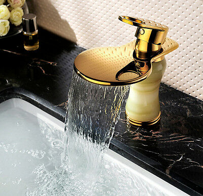Luxury Waterfall Bathroom Sink Brass Jade Faucet Basin Mixer Tap Vessel Handle
