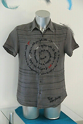 Shirt Cotton/Linen short Sleeves Regular Fit Desigual Size M Mint