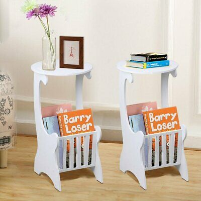 2PCS Wooden Magazine Storage Rack Sofa Bed End Side Tea Desk Flower Stand SP
