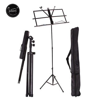 Glarry Professional Music Sheet Stand Metal Blakc Color with Nylon Bag