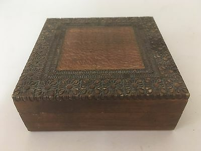 """Antique/Vintage Collectible Empty Square Brown Wooden 4.5"""" Etched Jewelry Box"""