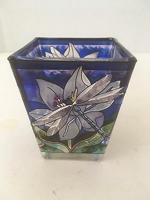 "Vintage Amia Hand Painted Glass 3"" Floral Dragonfly Themed Single Candle Holder"