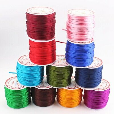 35 Meters Nylon Chinese Satin Silk Knot Cord 2mm RATTAIL Thread Necklace