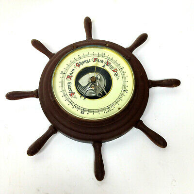 Vintage Ship's Wheel Round BAROMETER Weather Station Wall Hanging West Germany