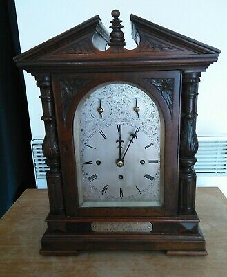 1890 Triple Chain Fusee Bracket Clock  musical Eight Bells / one spiral Gong