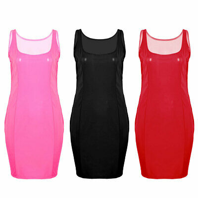 Women's Wet Look PU Leather Cocktail Party Clubwear Catsuit Mini Dress Bodycon