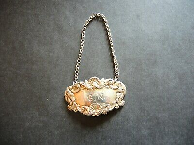 Vintage Solid sterling silver GIN Wine Ticket Bottle Decanter Label 70s w Chain