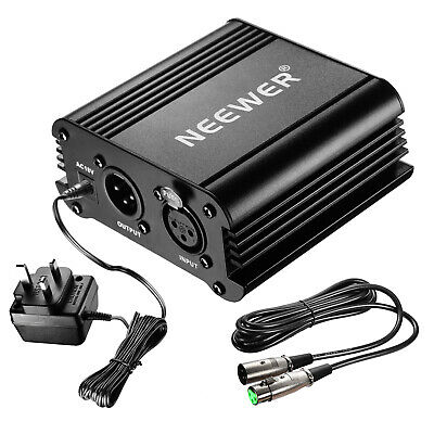 Neewer 48V Phantom Power Supply with Adapter and XLR Audio Cable for Mic