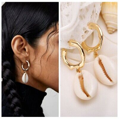 Sea Shell Statement Drop Detachable Earrings Ear Hoop Women Beach Chic Jewelry