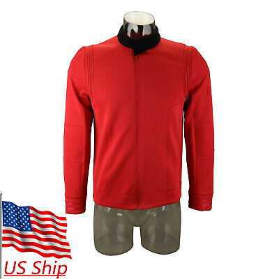 Star Trek Discovery 2 Engineering Commander Red Uniform Costume Mens Shirt Badge
