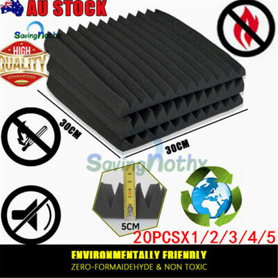 Audio Black Acoustic Foam Sound Absorbtion Proofing Panel Wedge 30CMX30CM Studio