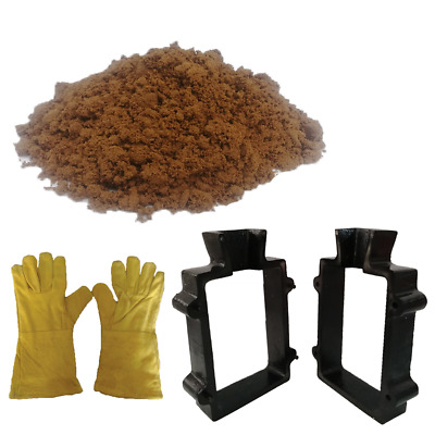 5 Lbs. Casting Sand Heat Resistant Gloves and Cast Iron 2 Part Flask Mold Set