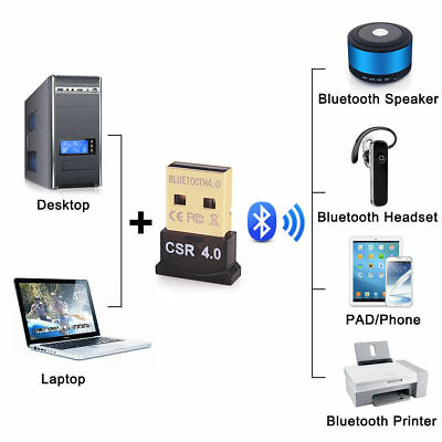 Mini Wireless USB Bluetooth V4.0 Dongle Adapter For Windows 7 8 10 PC Laptop Mac