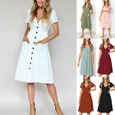 Womens Holiday V Neck Button Pocket Summer Casual Beach Midi Swing Sun Dress