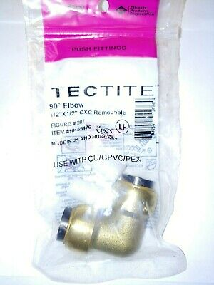 """Tectite Sharkbite Style 1/2"""" x 1/2"""" Push-to-Connect Elbow Brass"""