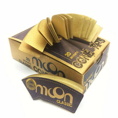 20 booklets of MOON Unbleached Classic Rolling Paper Cone Filter Tips