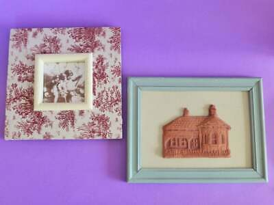 Pair of Cottage Chic Pictures, Terracotta & Fabric, Floral, Framed Wall Decor
