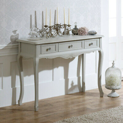 Grey wooden ornate vintage dressing table shabby french chic bedroom furniture