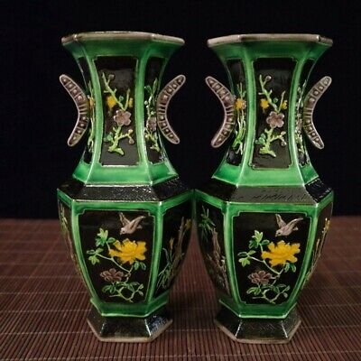 Exquisite CHINESE black Color PORCELAIN HAND-PAINTED bird flower VASE a pair