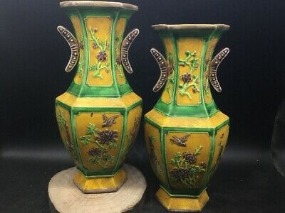 Exquisite CHINESE yellow Color PORCELAIN HAND-PAINTED bird flower VASE a pair