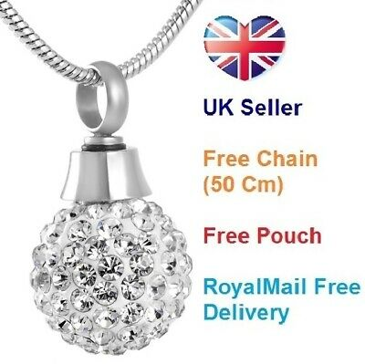 Cremation Jewellery for Ashes Funeral Ash Pendant Silver Crystal Ball Necklace