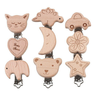 Natural wood cartoon pacifier clip DIY baby molar teether chain/toys/accessories
